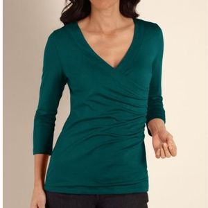 Soft Surroundings | Teal Shapely Surplice 3/4 Top
